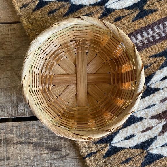 Small Vintage Wicker Woven Flat Basket